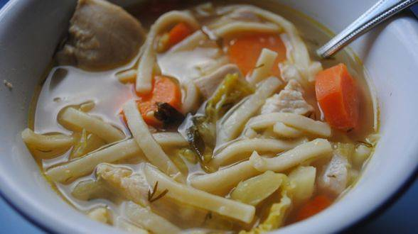 Lemon-Garlic Chicken Noodle Soup