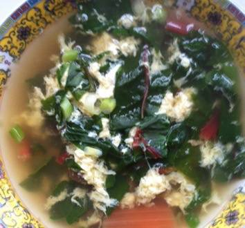 Lemongrass and Ginger Egg Drop Soup with Rainbow Chard