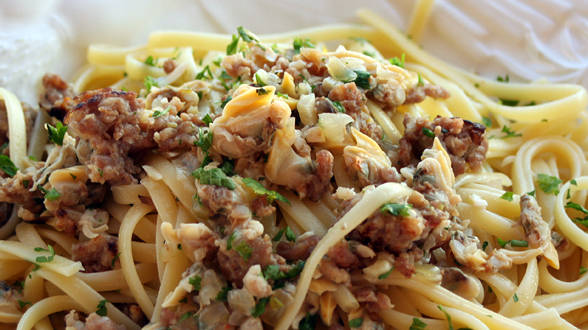 Linguine with Hot Sausage and Clam Sauce