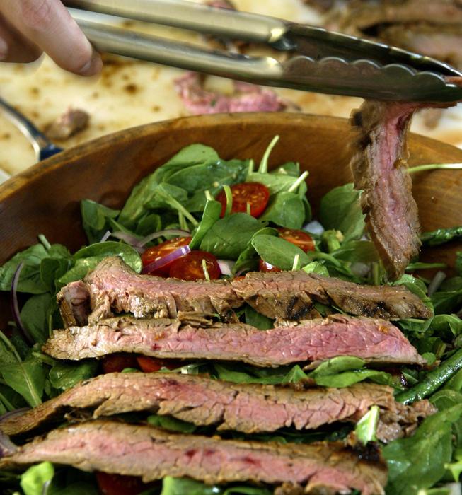 Marinated flank steak salad