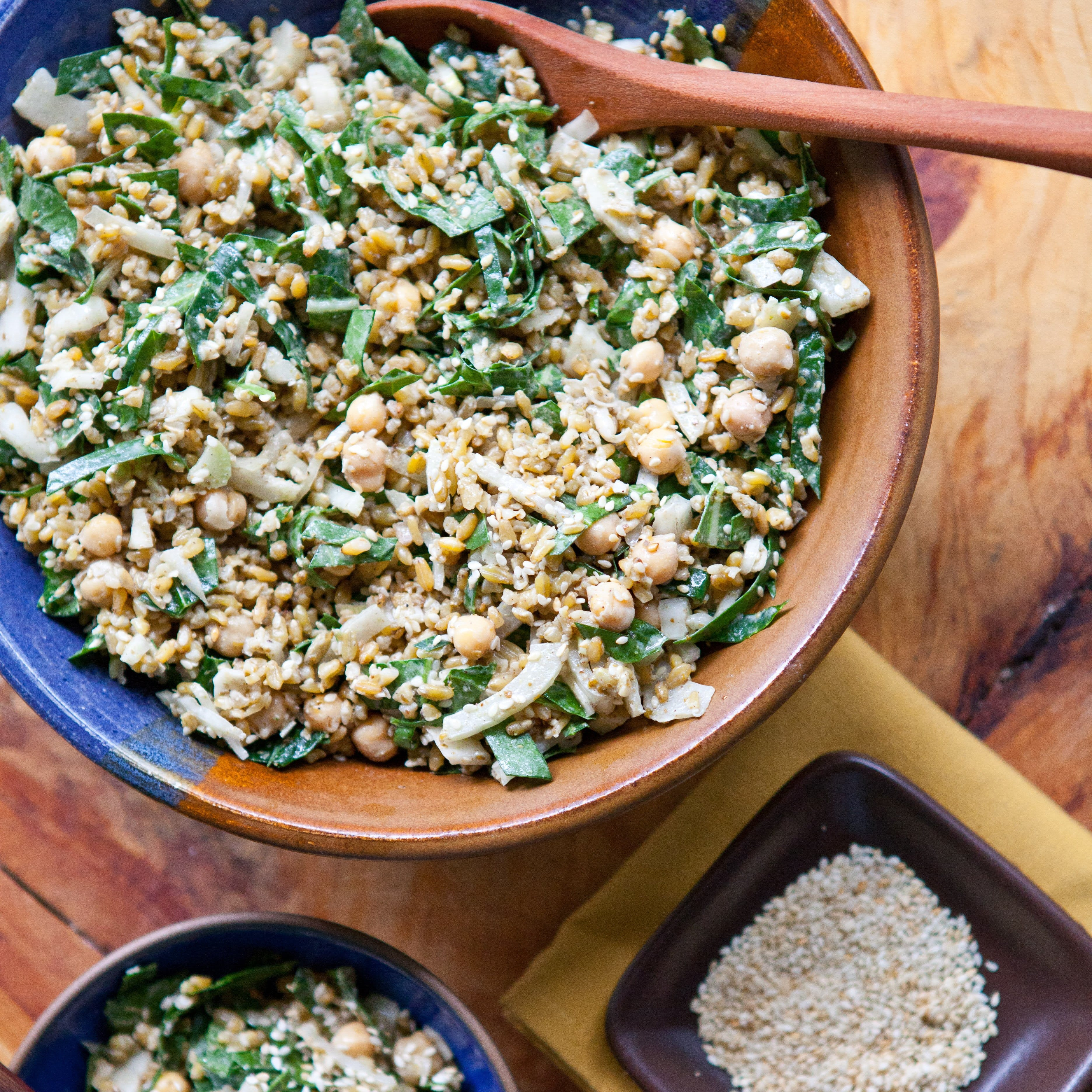 Mediterranean Freekeh Salad with Collard Greens and Chickpeas