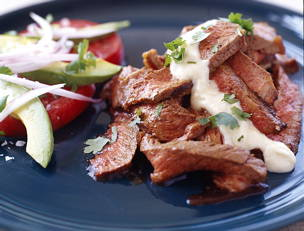 Mexican-Spiced Steak with Chipotle con Queso Sauce and Avocado Salad
