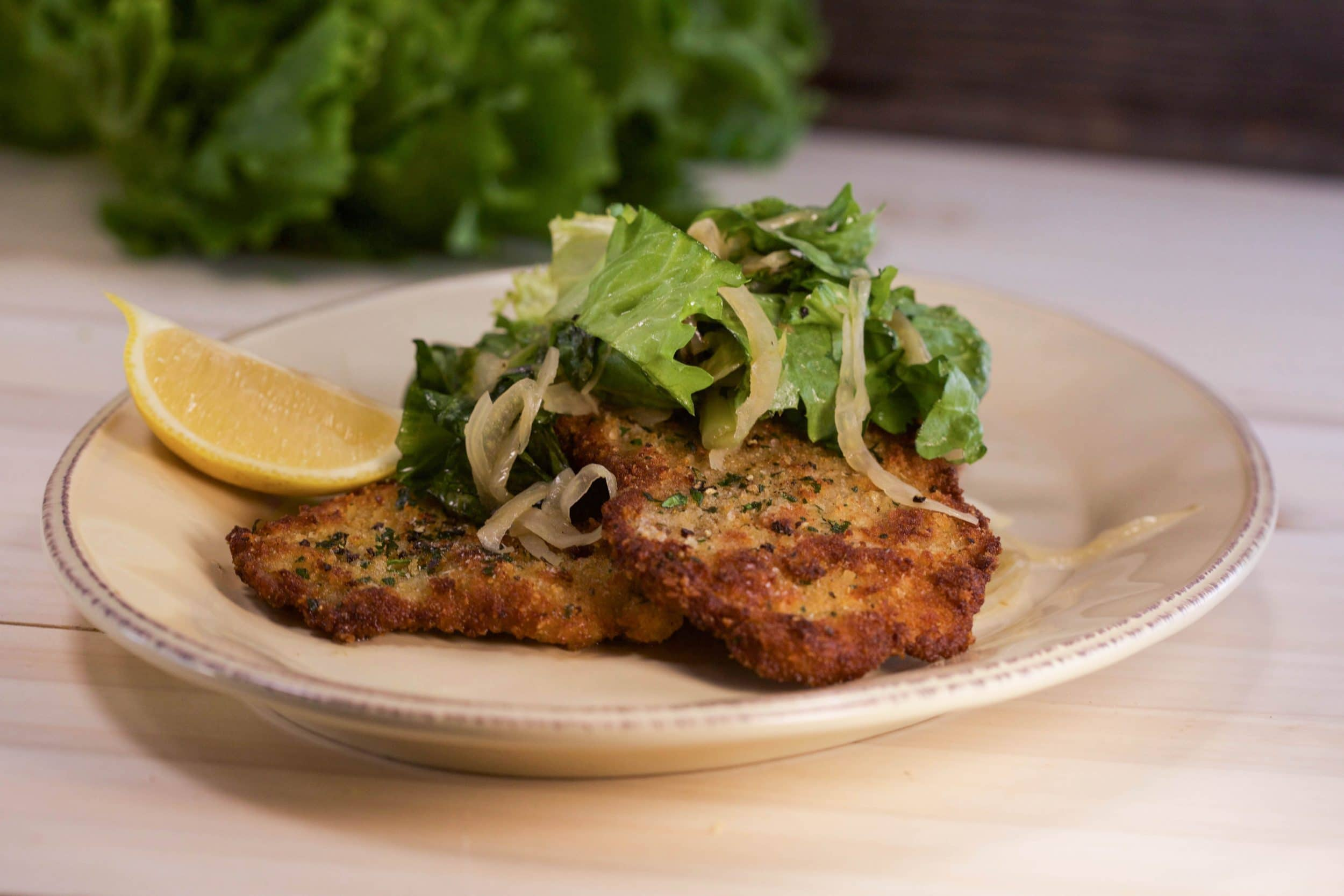 Milanese Pork Medallions with Warm Fennel and Escarole Salad
