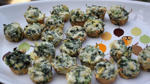 Mini Muffin Spinach and Artichoke Bites