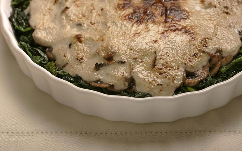 Mushroom and spinach gratin