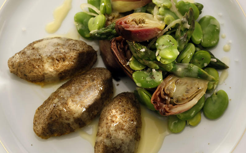 Mushroom quenelles with spring vegetables