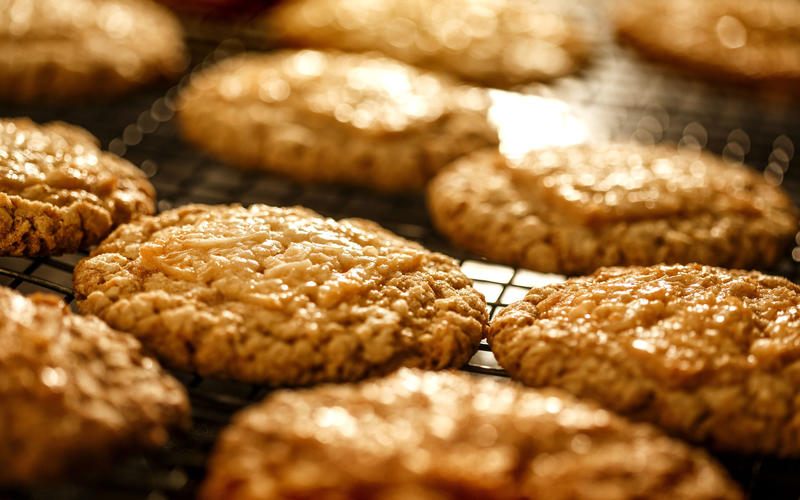 Oatmeal cookies at Sycamore Kitchen topped off by coconut toffee