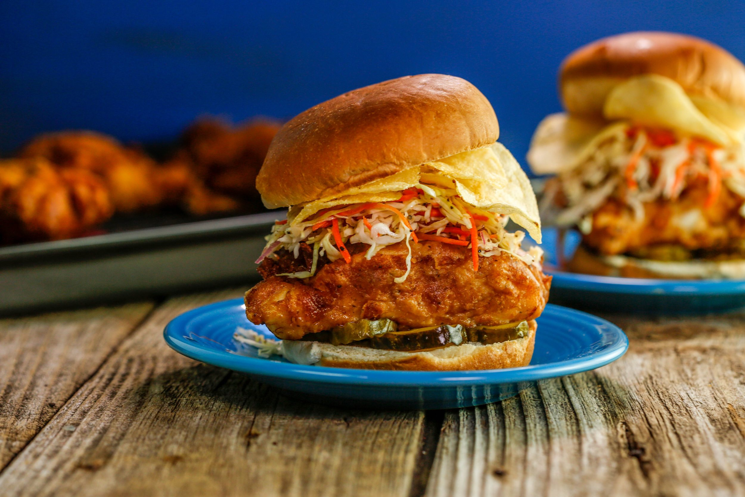 Old Bay Beer Battered Cod Sandwiches with Malt Vinegar Slaw