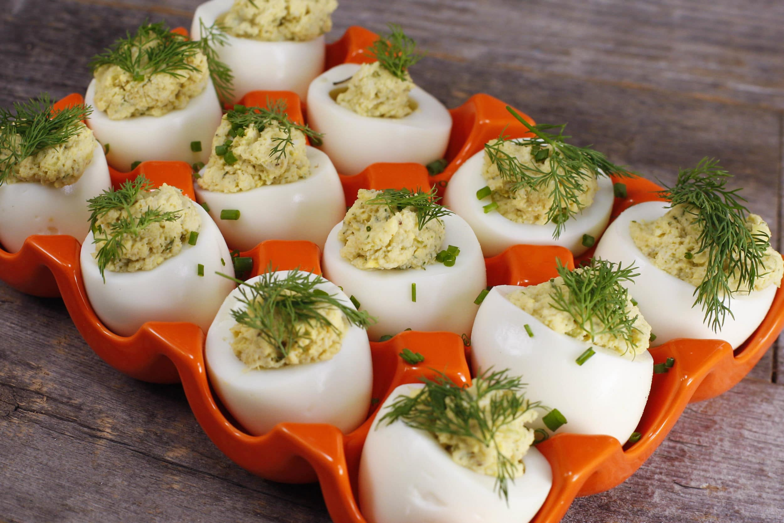 Old Bay Dilly Deviled Eggs with Crab