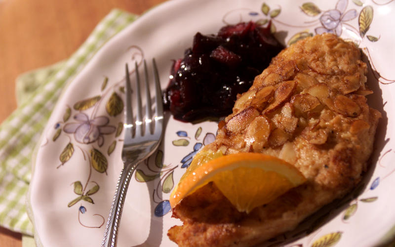 Orange Almond Chicken With Blueberry Chutney