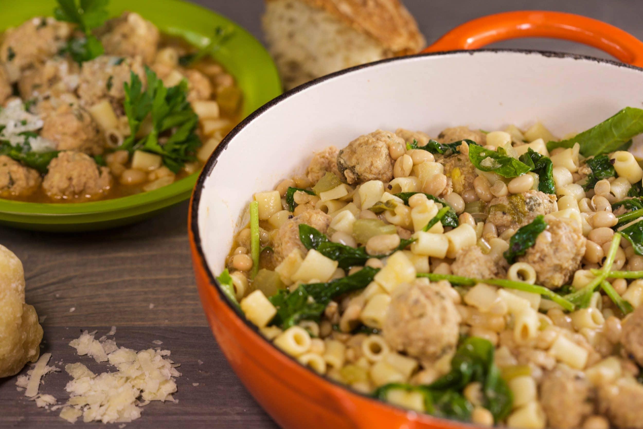 Pasta e Fagioli with Mini Meatballs