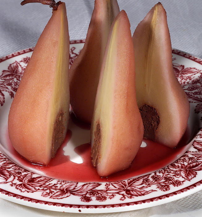Poached Pears Filled With Chocolate Hazelnut Ganache