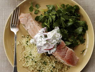 Poached Salmon and Parsley Couscous
