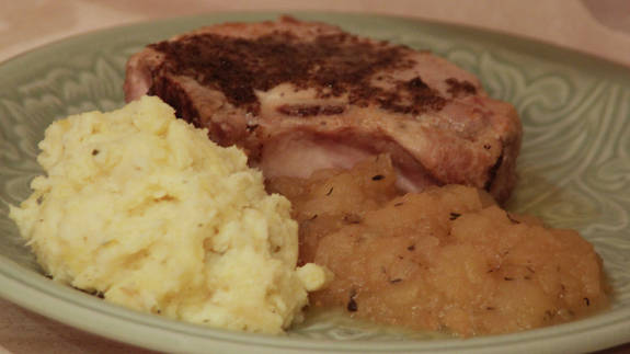 Pork Chops with Balsamic Brown Butter, Applesauce with Thyme, Mashed Potatoes and Celery Root