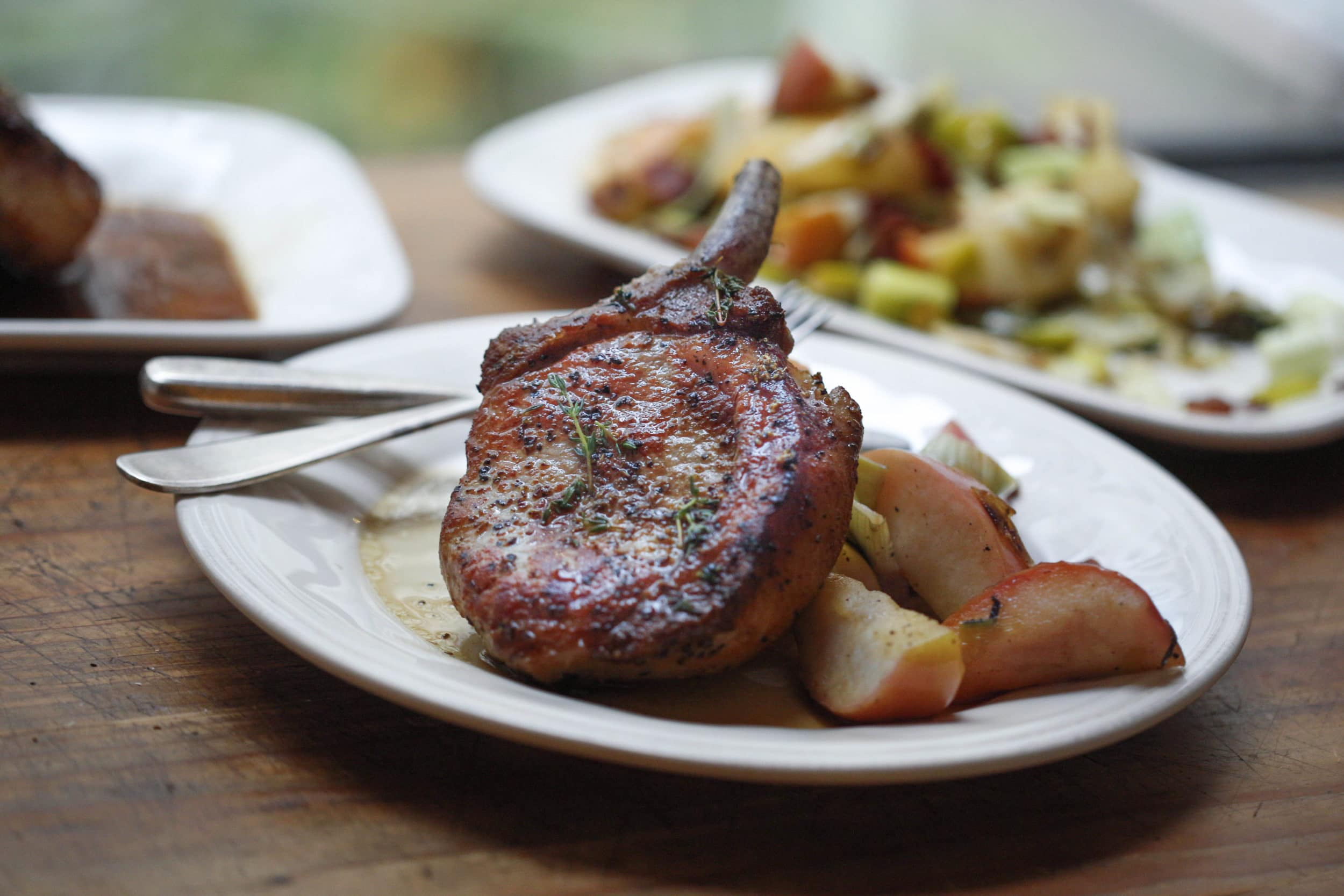 Pork Chops with Cider, Apples and Bacon