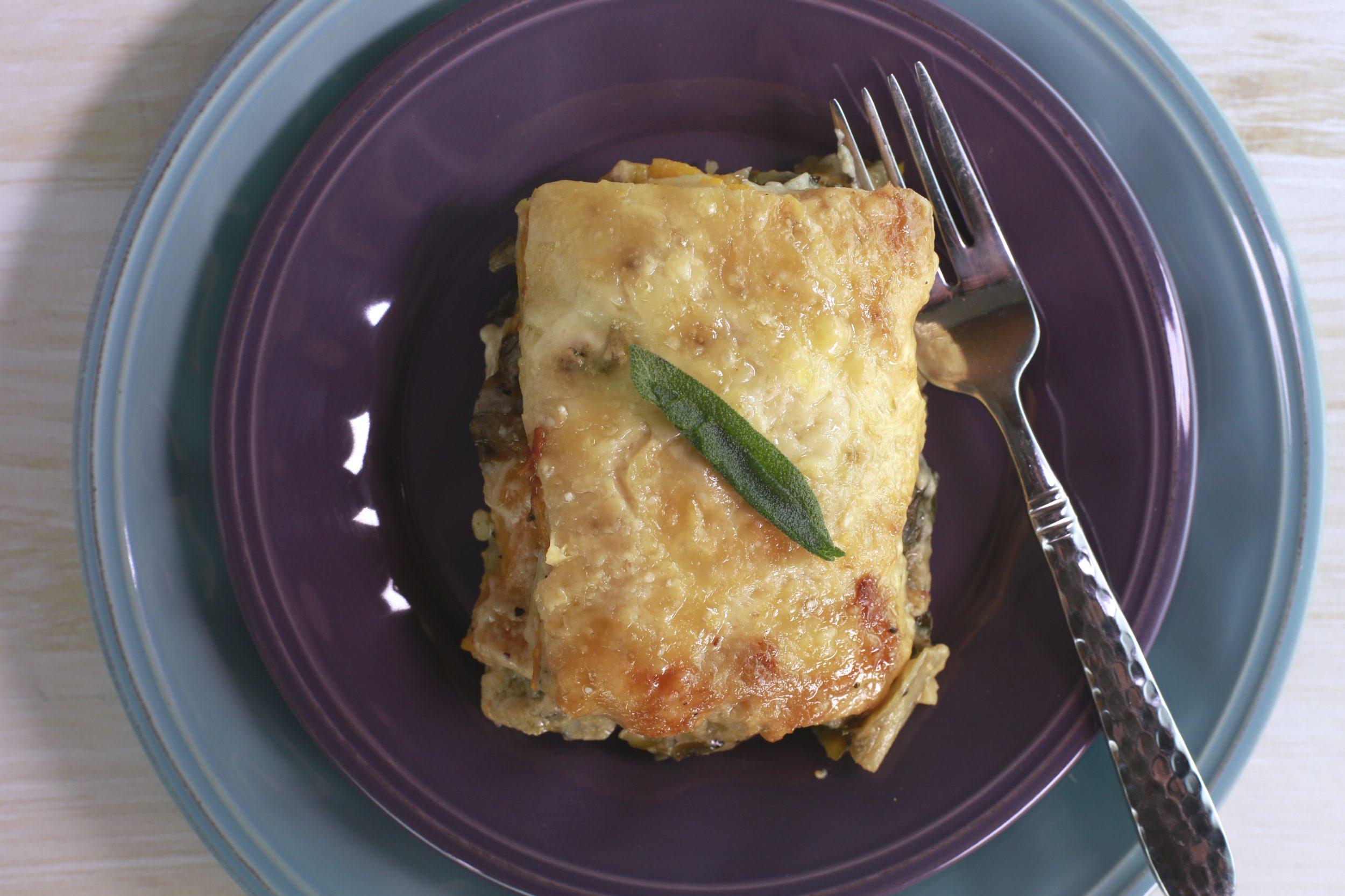 Potato Lasagna with Butternut Squash and Escarole
