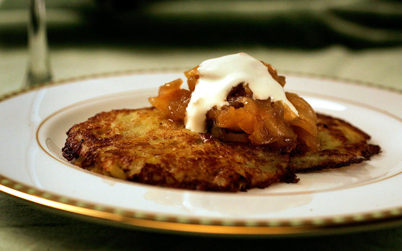 Potato pancakes with apple-onion jam and horseradish creme fraiche