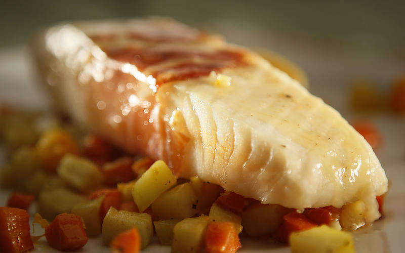 Prosciutto roasted bass with autumn vegetables