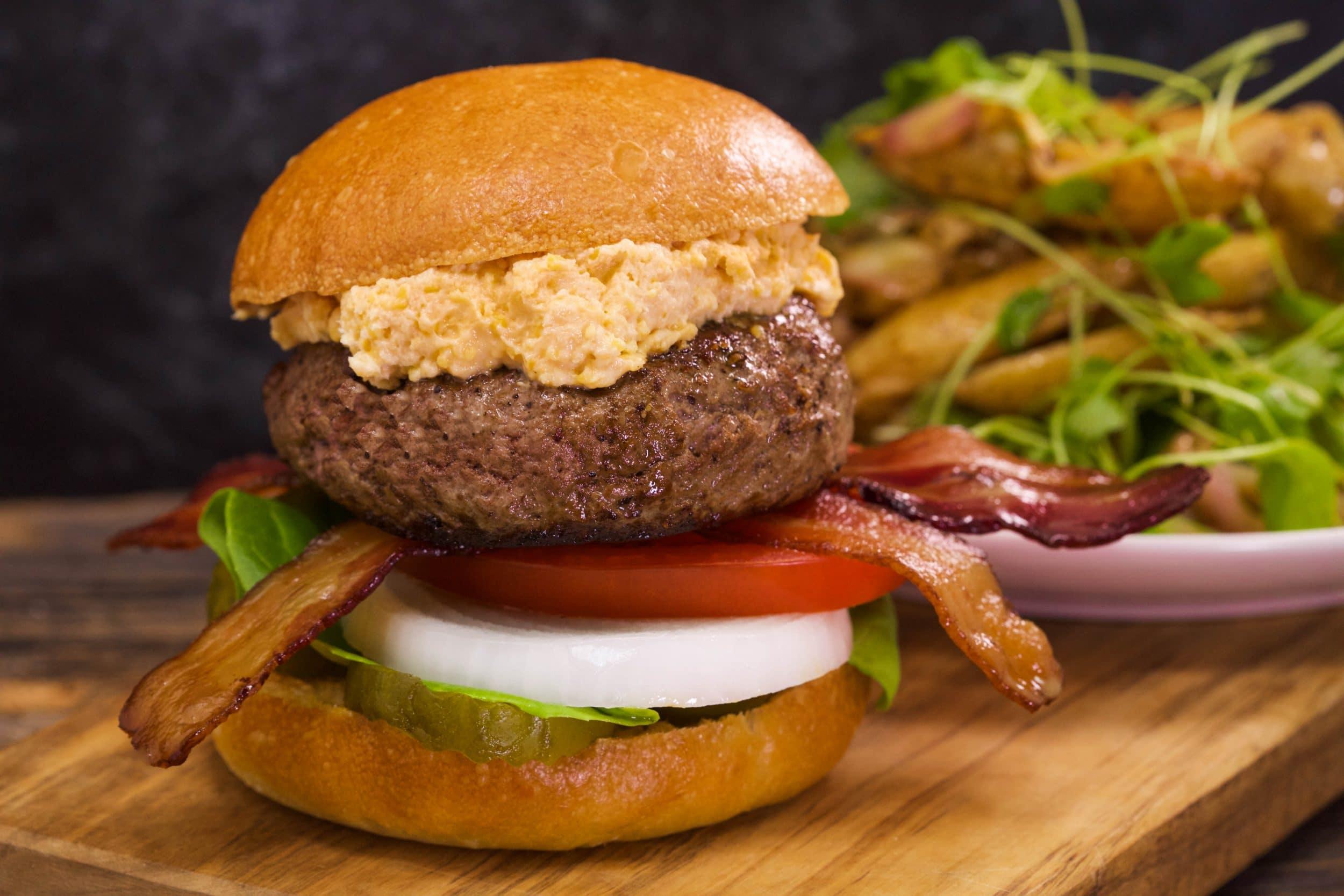 Pub Cheeseburgers with Warm Roast Fingerling Potato Salad