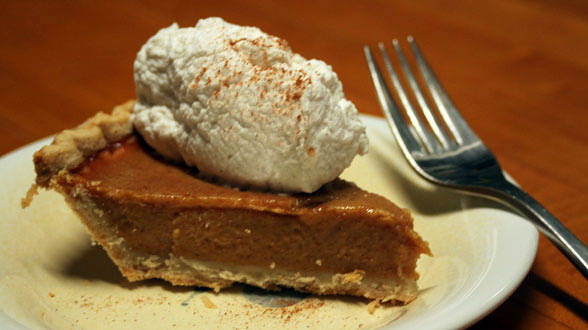 Pumpkin Pie with Almond Spiced Whipped Cream
