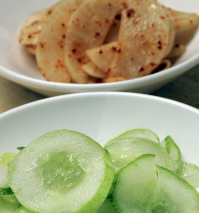 Quick-pickled daikon and cucumber