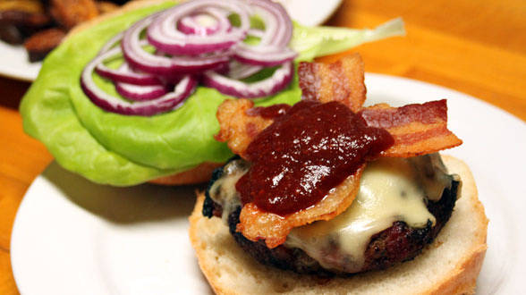 Rachael Ray's Tex-Mex Bacon Cheeseburgers with Chipotle Ketchup