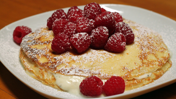 Raspberries and Yogurt with Buttermilk Crepes