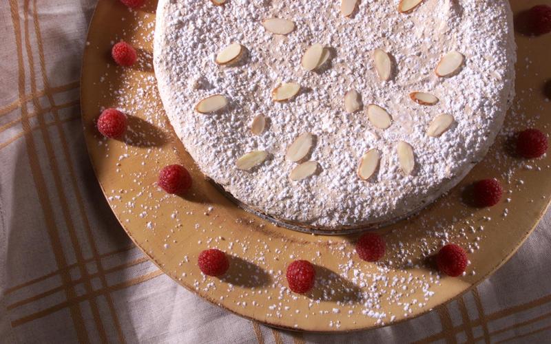 Raspberry oatmeal meringue cake