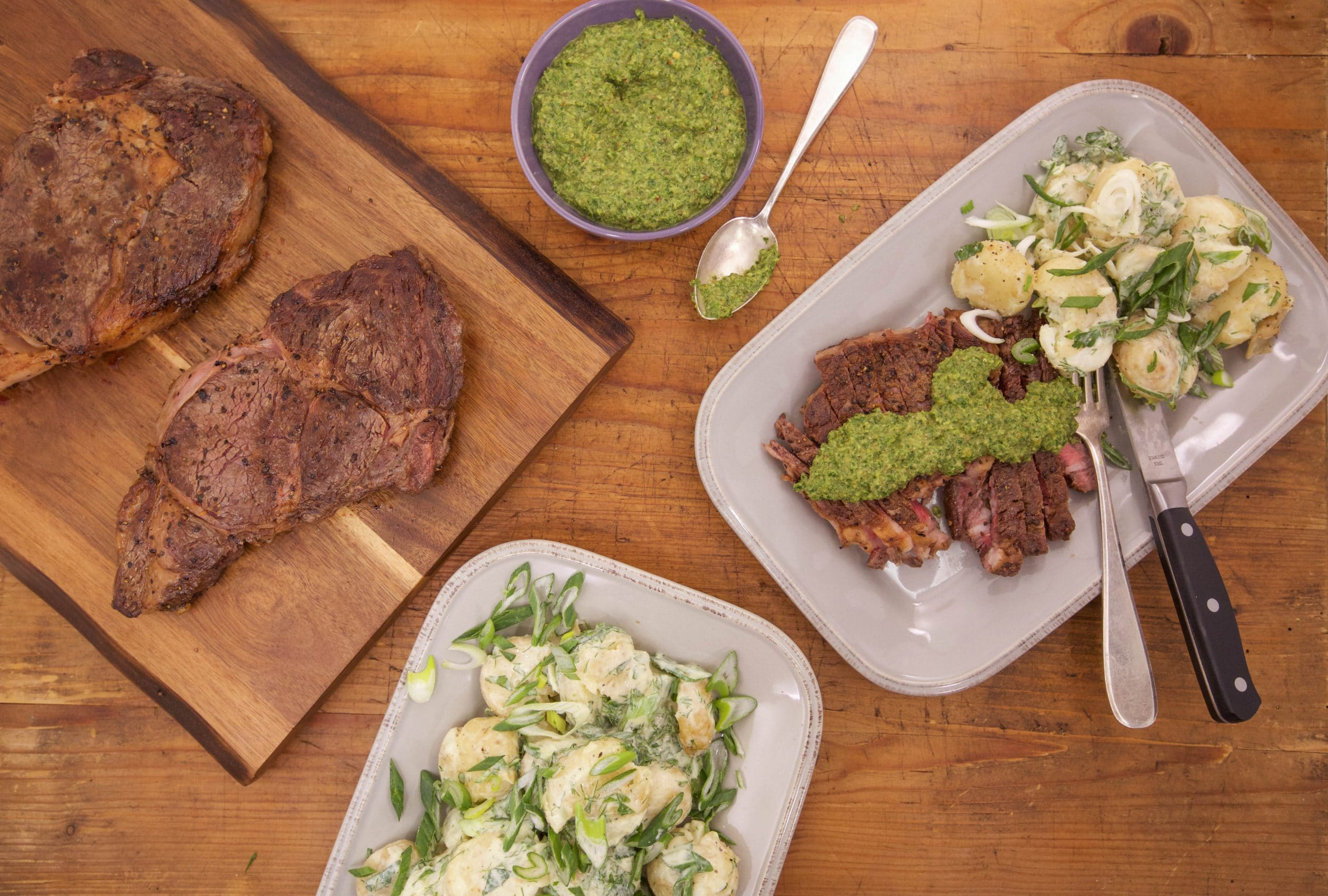 Ribeye Steaks with Arugula Salsa Verde, Crushed Potato Salad with Garlicky Ranch