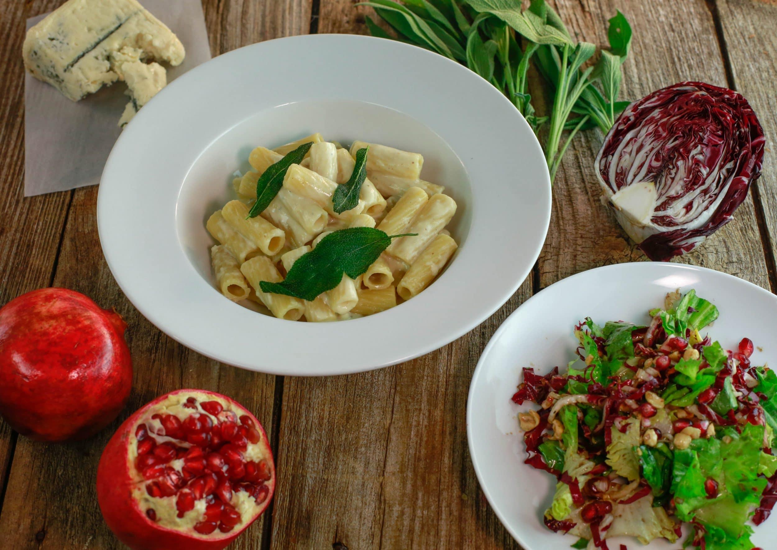Rigatoni Quattro Formaggi with Roasted Garlic and Crispy Sage, and Escarole Salad