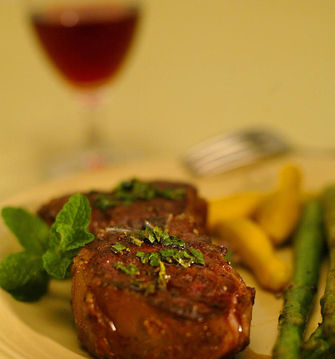 Roast lamb with fresh mint sauce