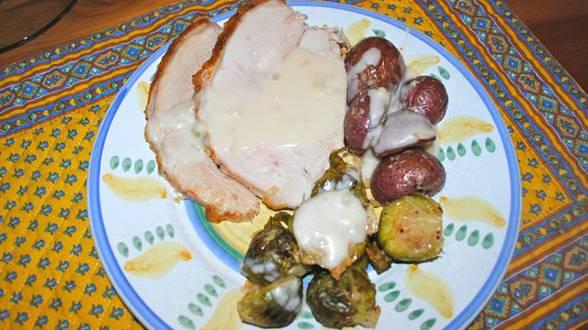 Roast Turkey Breast with Citrus Pesto and Shallot Gravy