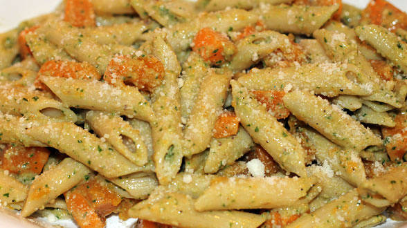 Roasted Pumpkin Penne with Autumn Pesto