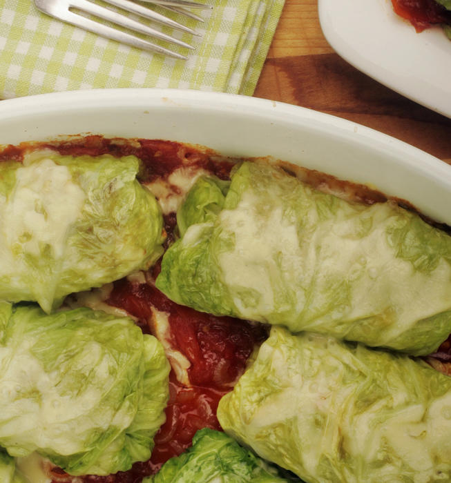 Sausage-stuffed savoy cabbage