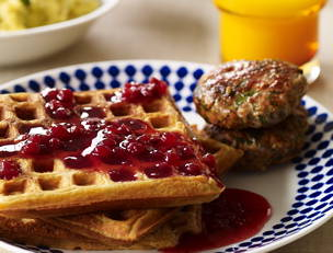 Savory Sour Cream and Chive Waffles with Sausage and Lingonberry Syrup