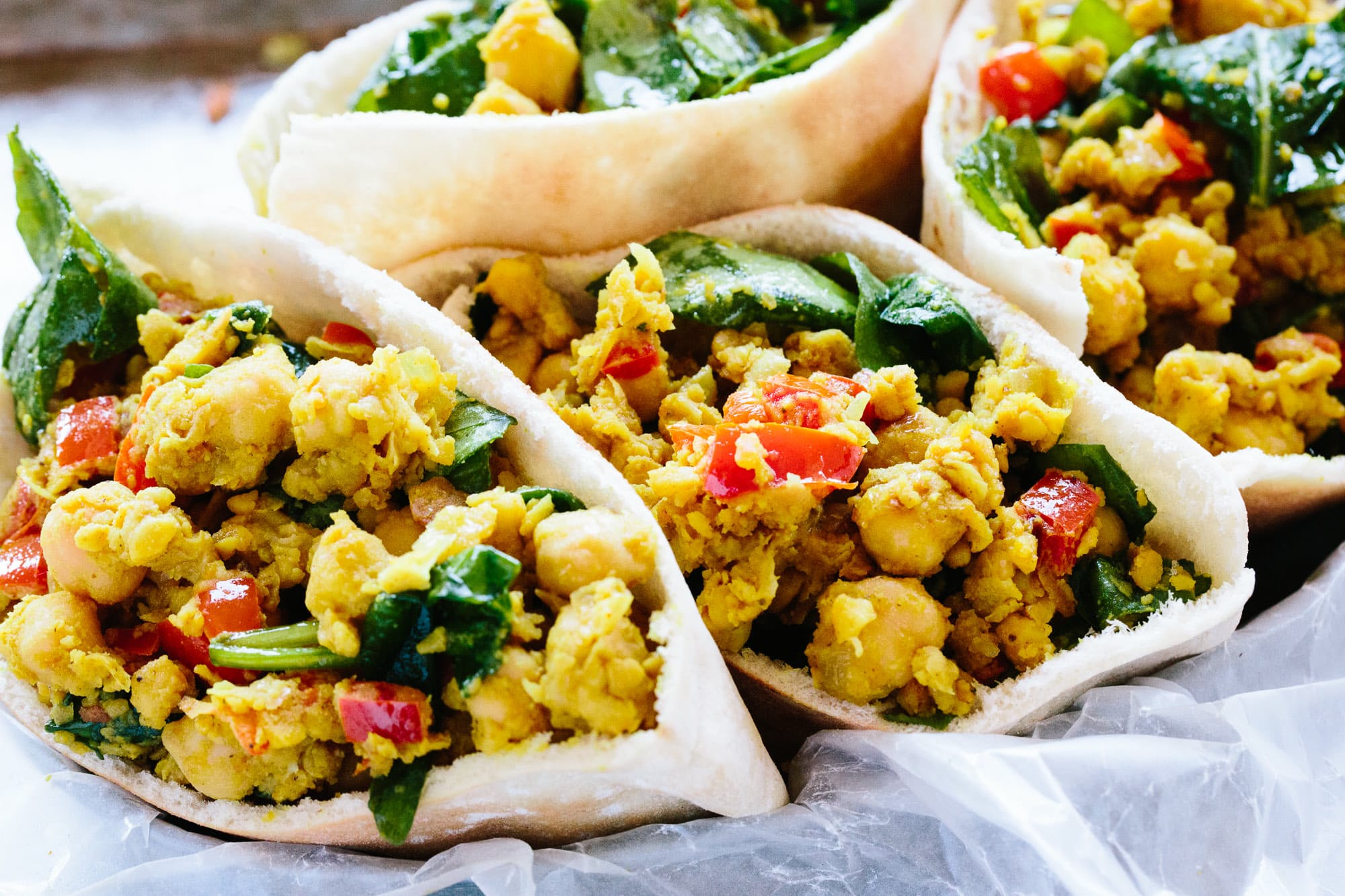 Scrambled Chickpea and Spinach Pitas