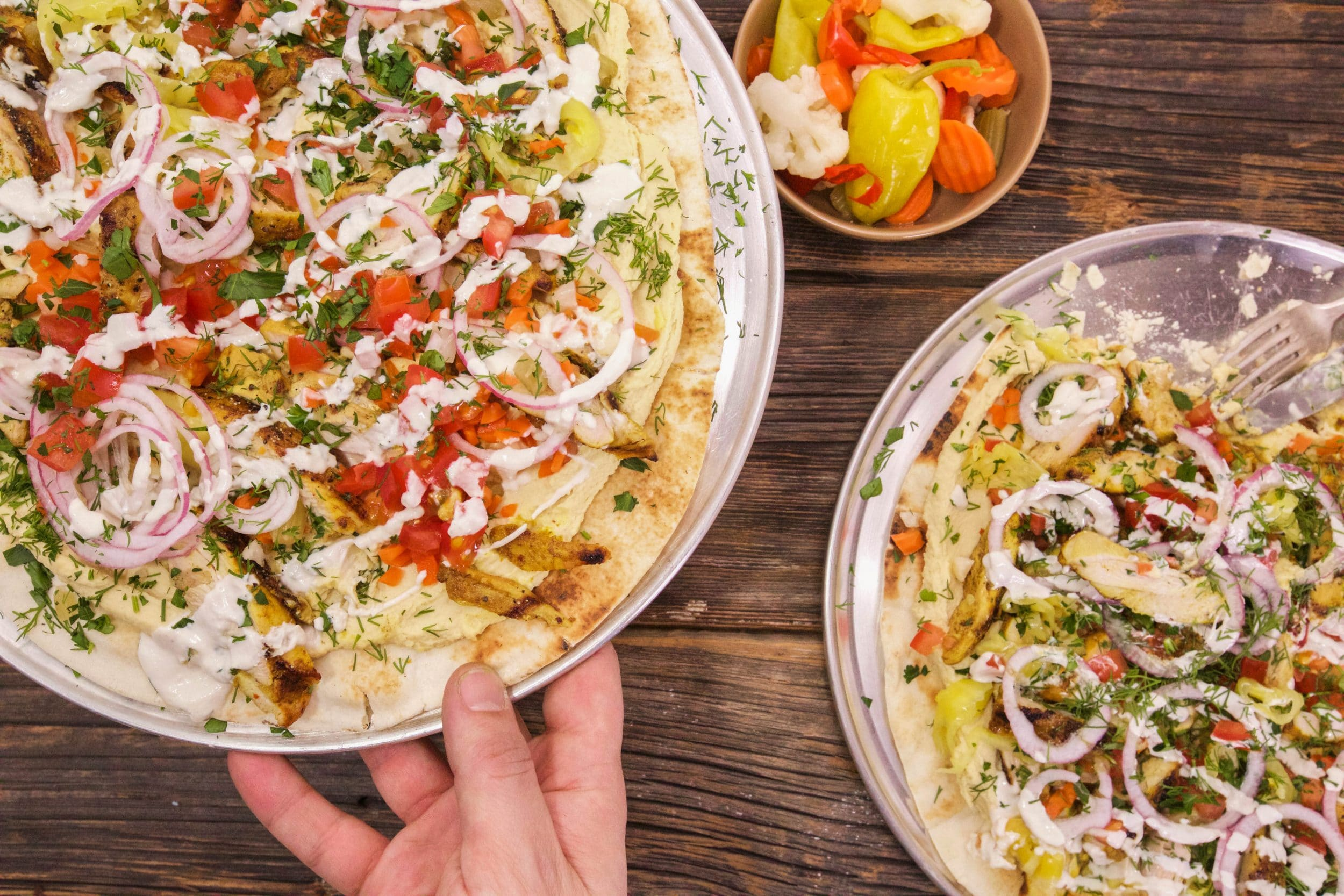 Shawarma Chicken Pizza on Naan