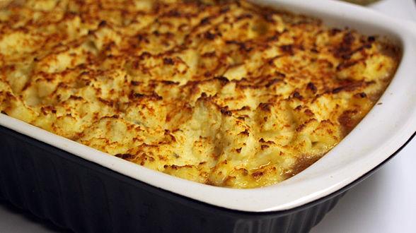 Shepherd's Pie with Bacon, Beef and Horseradish Blue Cheese Potatoes