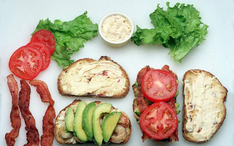 Shrimp Club Sandwiches With Chipotle Mayonnaise