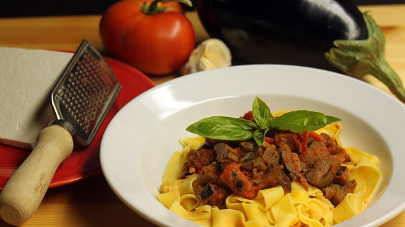 Sicilian Eggplant and Pepper Ragu and Pappardelle