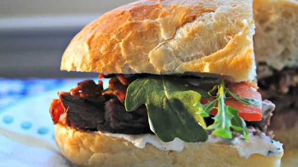 Sliced Steak Club Sub with Horseradish and Herb Sauce
