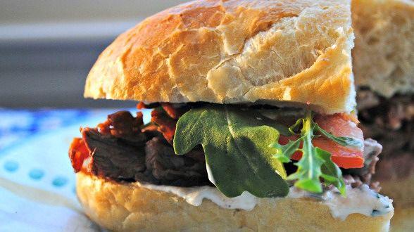 Sliced Steak Club Sub with Horseradish and Herb Sauce