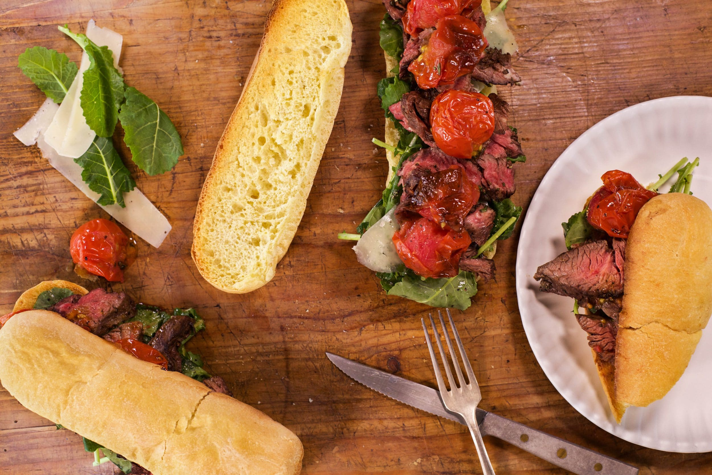 Sliced Steak Sandwiches with Roasted Tomatoes