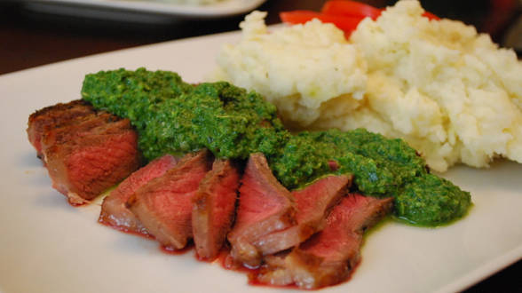 Sliced Steak with Arugula Chimichurri and Sassy Mashed Potatoes and Parsnips