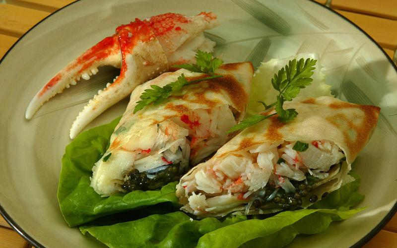 Snow-crab rolls with caviar