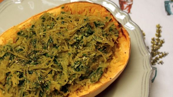 Spaghetti Squash with Warm Spinach-Walnut Pesto