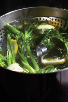 Spicy Rapini with Almonds, Horseradish and Quince
