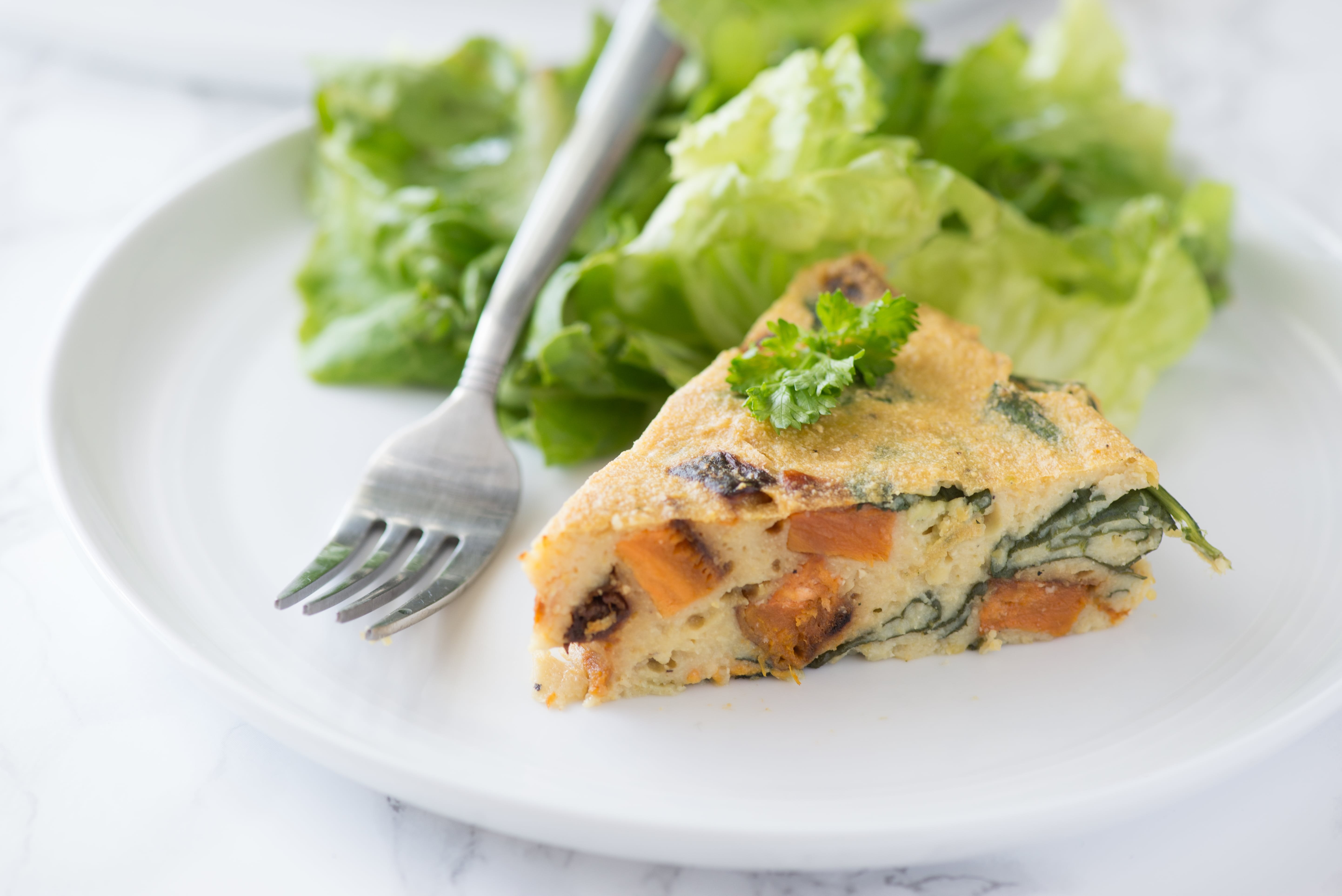 Spinach & Sweet Potato Chickpea Crustless Quiche