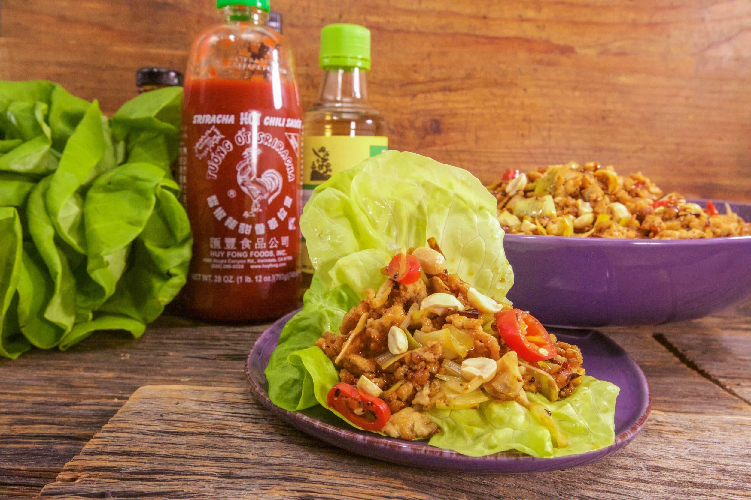 Sriracha Chicken with Peanuts in Lettuce Wraps