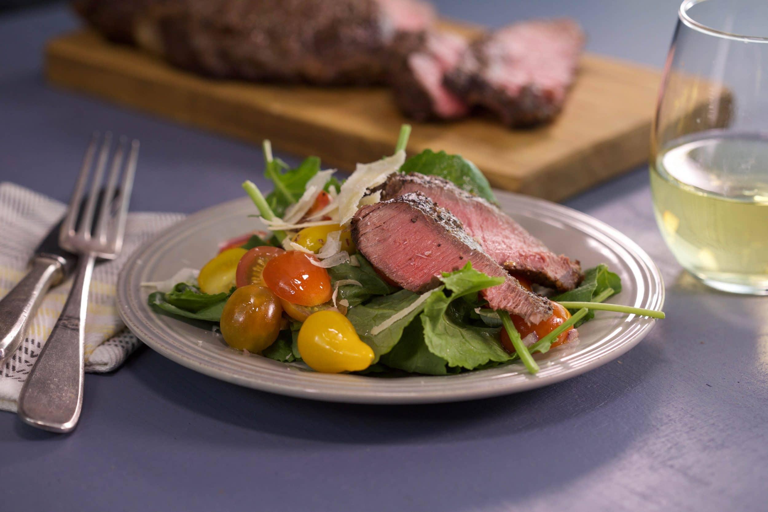 Steak and Baby Greens Salad